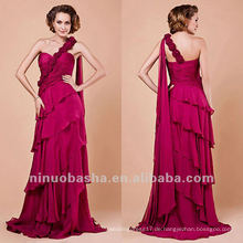 Mantel Handgemachte Blume abgestuft ein Schulter Abendkleid Partykleid