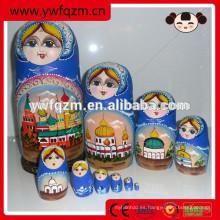 Muñeca pintada madera barata al por mayor