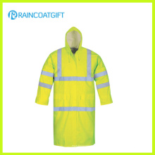 Fluoreszenzfarbe Reflektierende wasserdichte PVC Polyester Regenjacke