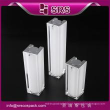 Plastic cosmetic15ml 30ml 50ml garrafa airless de forma quadrada acrílica preta