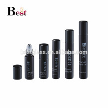 new products shinny black roll on bottle logo silk printing glass roll on bottle with stainless steel ball and aluminum cap