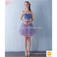 Voguish Short Off-ombro Venda vestido de dama de honra aplicada com cintura