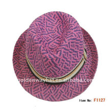 2012 Womens straw fedora hat with high quality for party hat