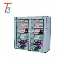Cabinet portatif de chaussure de porte coulissante en tissu anti-poussière à 6 portes, double porte