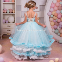 New Fashion Frocks Blue Color Flower Lace Long Maxi sleeveless for Princess Dress Model 10 Year Old Girl