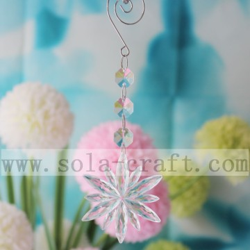 White Flower Pendant Glass Octagon Beads Chandelier Trimming For Curtain Garland Prism