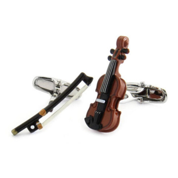 Violin Warna Mutu dan Bow Unique Cufflinks