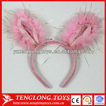 Orelhas de coelho rosa orelha banda de cabelo de pelúcia para crianças com lantejoulas nele