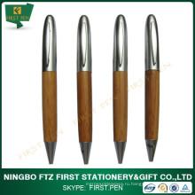 Переработанная рекламная ручка из бамбука, металлический зажим