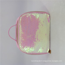 Sample Available Sequin Cosmetic Bag Pu Leather Travel Makeup Bag With Handle Luxury Pink Makeup Bag