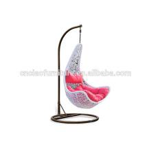 Chaise d'oscillation accrochante de rotin de patio de feuille d'érable avec le support