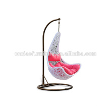 Maple Leaf Patio Rattan Hanging Swing Chair With Stand