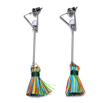Simple Design Long Tassel Silk Drop Fancy Earrings Woman