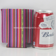 Folding Striped Neoprene Beer Can Coolers