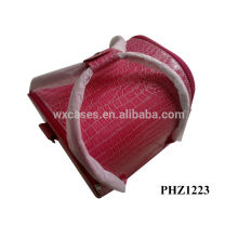 high quality PVC cosmetic bag with pink crocodile pattern and 4 removable trays inside