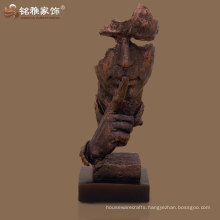modernized copper color polyresin abstract human face statue