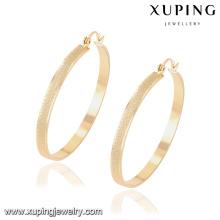 91904 Xuping women jewellery 18k plated big hoop earring without zircon