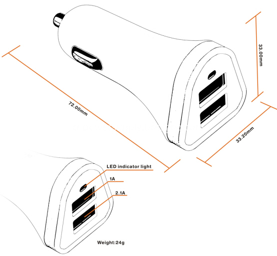 3.1a car charger size
