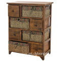 WICKER CHEST DRAWER BASKET MAIZE BEDSIDE CABINET RETRO STORAGE UNIT CUPBOARD
