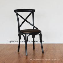 Upholstered Black Cross Back Restaurant Chair Metal (SP-MC080)