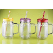 plastic mason jar tumbler with handle and straw