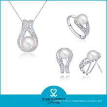 100% fait à la main Pavé Set bijoux en argent Set Design (J-0183)