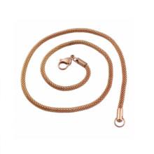 Aço inoxidável de alta qualidade 4Mm Gold Flower Basket Chain Necklace