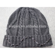 Acrylic Knitted Winter Hat with Bead
