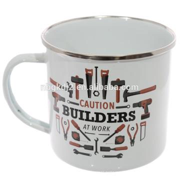 Taza de encargo al por mayor del acero del esmalte de la impresión del logotipo, venta al por mayor de la taza del esmalte de encargo
