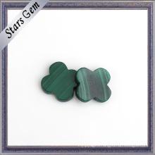 Two Flat Back Green Flower Shape Natural Malachite Stone
