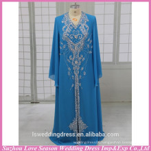 HE3004 Hot selling bright blue long sleeve good handmade muslim long sleeve maxi dress evening dress for muslim prom dresses