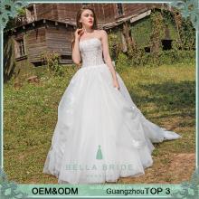 2017 Nach Maß Guangzhou Fabrik trägerlosen Hochzeitskleid in China