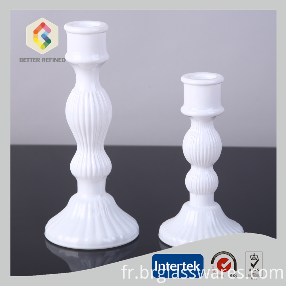 white color Glass Candle Holder