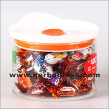 Flacon de stockage en verre de 0,6 L avec couvercle (GB-8401)