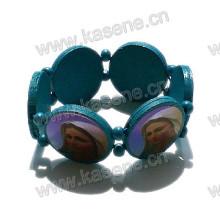 Fashion Handmade Blue Wooden Catholic Rosary Bracelet on Elastic