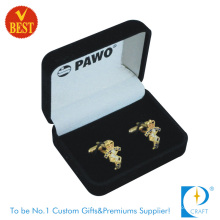 Luxurious Golden Metal Cufflinks for Promotional Gift with Flocking Box Packing