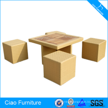Flat rattan furniture cube composable space-saving dining set