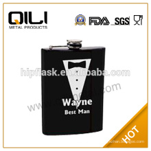 230ml stainless steel custom white print business suit flask