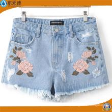 Verão 2017 Moda Feminina / Senhora Bordados Denim Shorts Casual