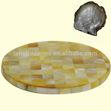 mother of pearl shell yellow round shell cup coaster