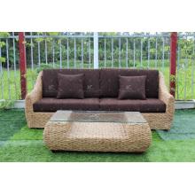 Hot Sales Splendid Design Water Hyacinth Sofa Set para uso interno ou sala de estar Natural Wicker Furniture