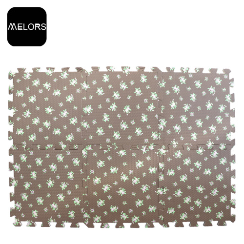 Brown Flower Baby Interlocking EVA Foam Play Mat