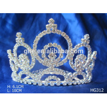 metal crown caps plastic tiara plastic crowns and tiaras new year diamond wedding/bridal tiara crystal glass crown