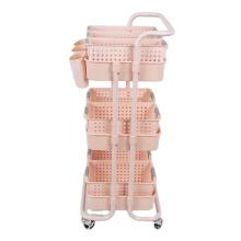 Spa Facial Salon Trolley Kitchen Storage Pink Color Rack Rolling Cart Utility Organizer