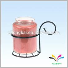 pequeña botella de vidrio colgando de la pared plana metal gancho estaca de metal para la vela