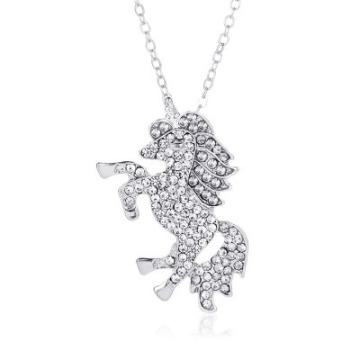 Nc-0281 2020 Charm Unicorn Picture Pendant Necklace Colorful Micro Set Full Diamond Pony Chokers Necklace for Women