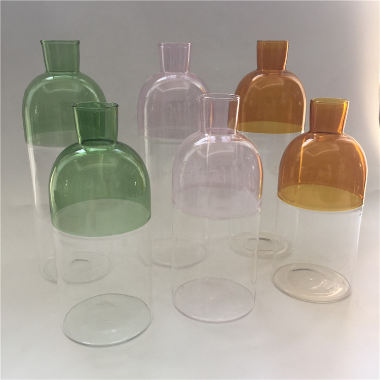 Wholesale Unique Half Colorful Glass Bottle Crystal