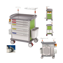 Medical Equipment Italianism ABS Plastic Emergency Medical Trolley Cart Price With Drawers