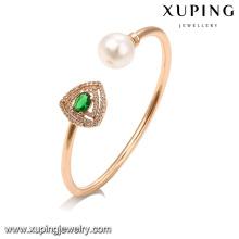 51650 Charming diamante moda pulseira de ouro artesanal pérola cuff bangles jóias