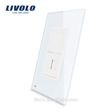 Livolo Prise Ordinateur US Prise RJ45 Avec Prise De Verre Internet Perle Verre Cristal Blanc Perle VL-C591C-11